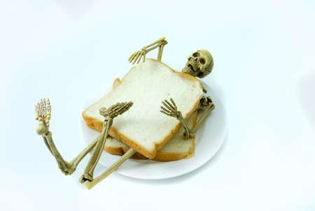 Human skeleton sanwich breakfast  halloween on white background.