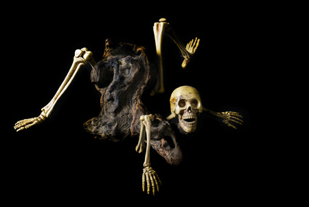 Skeleton ghost resident evil heterogenesis on halloween black background. Stock Photo