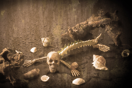 Skeleton ghost resident evil heterogenesis on halloween add grain vignett still life style.