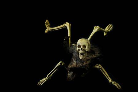 Skeleton ghost resident evil heterogenesis on halloween black background. Stock Photo