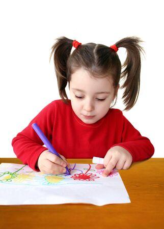Cute little girl drawing photo