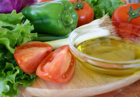 Assorted fresh vegetables and olive oil Stock Photo - 305168