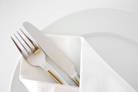 restaurant setting: Place setting Stock Photo