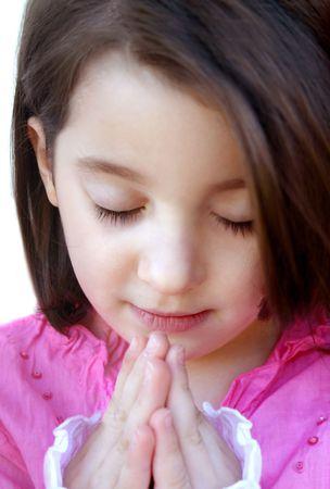 bless: Beautiful little girl praying