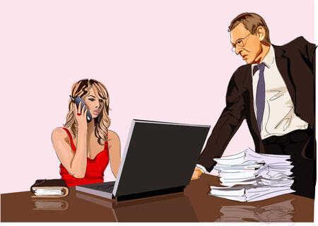 boss and secretary Stock Vector - 3889880
