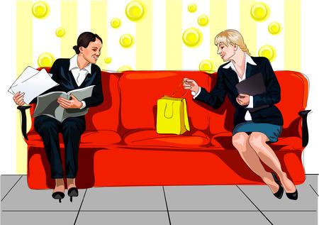 divan: personal en gran sof� rojo Vectores
