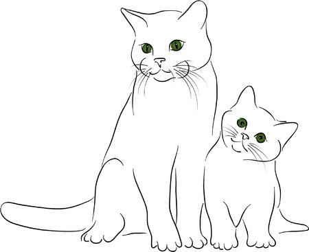 big & little cats Stock Vector - 3897250