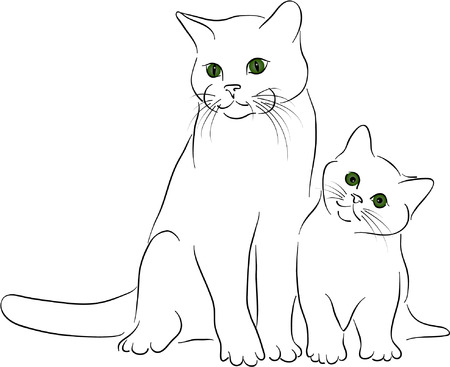 silueta de gato: grandes y poco los gatos