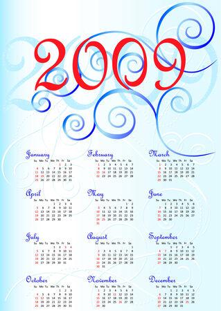 calendar 2009 USA Stock Vector - 3947838