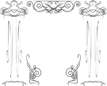 colonna romana: colonne ioniche Vettoriali