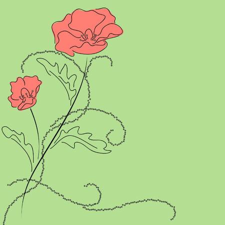 red poppy in green Vector