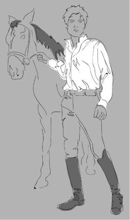 uomo a cavallo: cavaliere Vettoriali