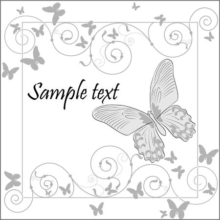 beautiful frame with butterflies Vector