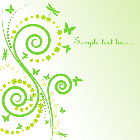 animal vector: background with butterflies and dragonflies