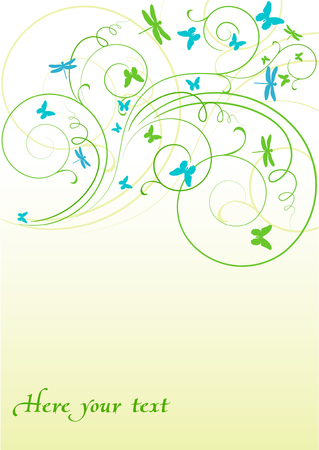 abstract background with blue butterflies Vector