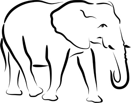 africa outline: elephant