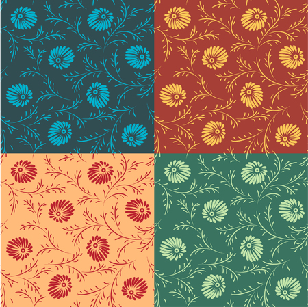 seamless baroque wallpapers in different colours Vector