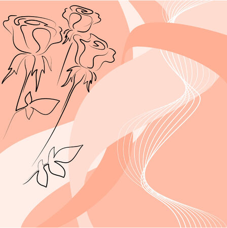 abstract background with roses silhouette Vector