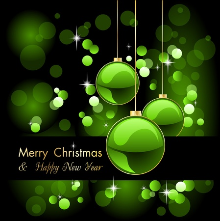 merry christmas elegant green background with baubles