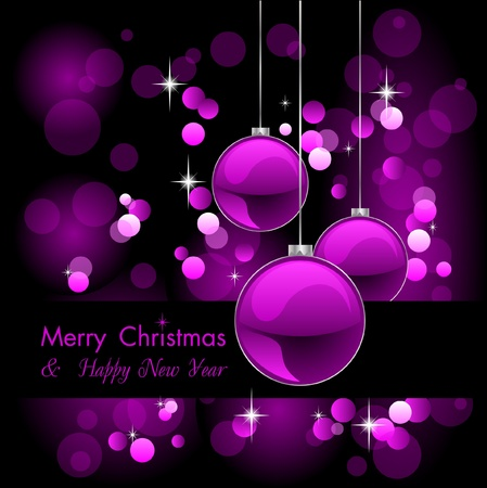 emo: merry christmas elegant purple background with baubles