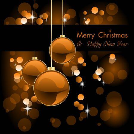 merry christmas elegant orange background with baubles