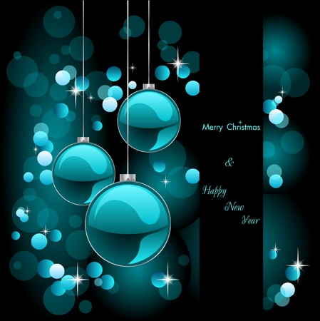 merry christmas elegant turquoise background with baubles Illustration