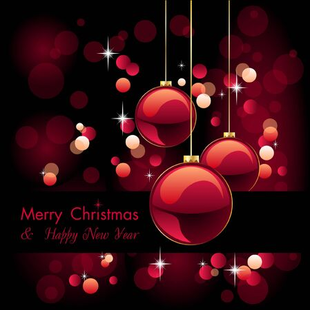 merry christmas elegant red background with baubles