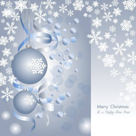 merry christmas elegant silver background with baubles Illustration