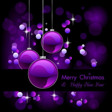 merry christmas elegant purple background with baubles