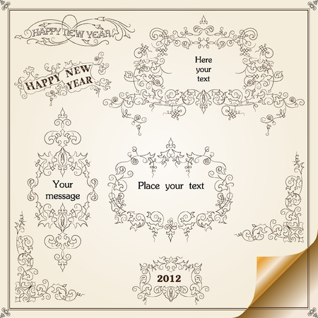 Christmas decoration set - lots of calligraphic elements, bits and pieces to embellish your holiday layouts