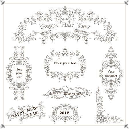 hollies: Christmas decoration set - lots of calligraphic elements, bits and pieces to embellish your holiday layouts