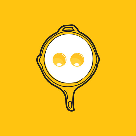 Fried egg and hand drawn outline pan.Vector design for breakfast menu.Fast food background.Yellow background.
