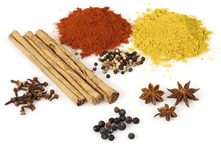 odour: Various colorful spices from above isolated over a white background