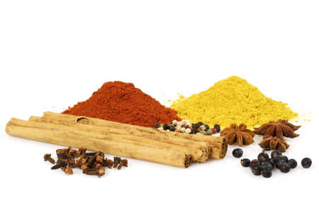 Various colorful spices isolated over a white background Stock Photo