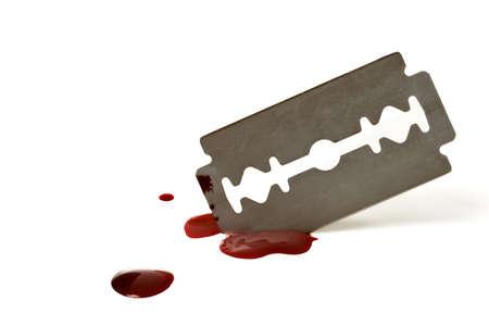 Bloody Razor Blade Stock Photo