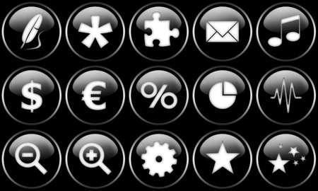 Set of buttons for web design. All buttons are isolated using a clipping path which make it easy to use them on any background color. See other images in my portfolio for other button sets. Stock Photo