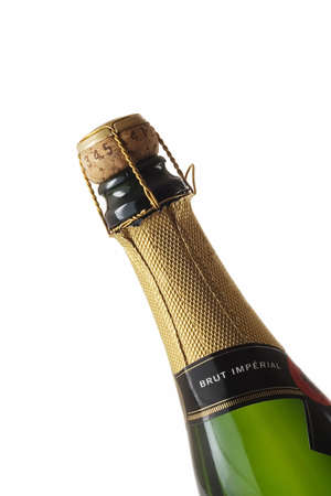 Close-up of a champagne bottle isolated over a white background Stock Photo - 507436
