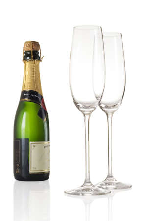 Champagne bottle and two flutes isolated over a white background Stock Photo - 507431