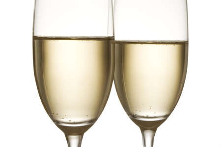 Two champagne flutes isolated over a white background Stock Photo - 507427