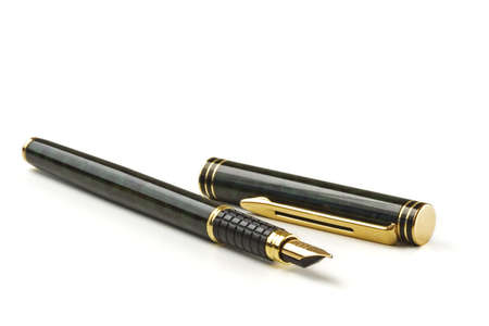 Close-up of a fountain pen isolated over a white background