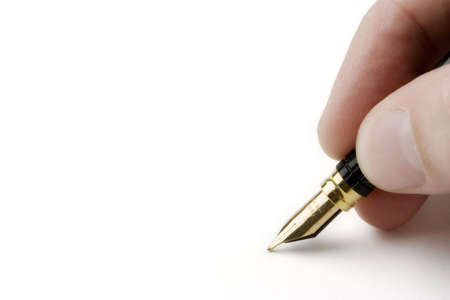 Close-up of a fountain pen isolated over a white background photo