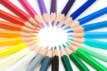 Crayons close-up isolated over a white background Stock Photo