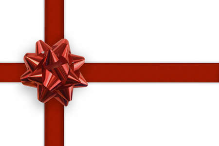 Gift ribbon and bow on a white background photo