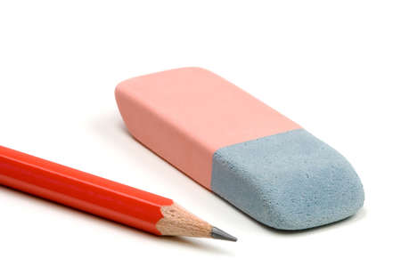 Pencil and eraser isolated over a white background photo