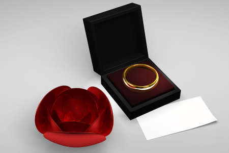 Wedding ring and crystal rose. This is a 3d rendered picture. photo