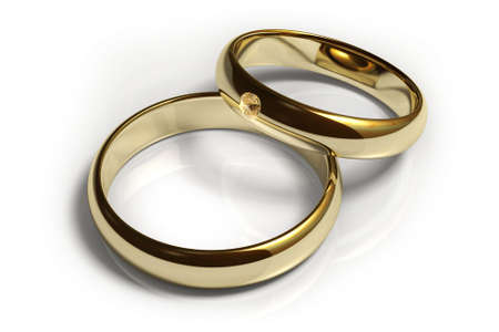 Two wedding rings isolated over a white background. This is a 3D rendered picture. Stock Photo