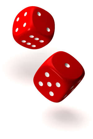 Two rolling red dices isolated over a white background. This is a 3D rendered picture.