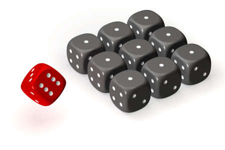 aligned: One red dice and many grey dices aligned on a grid and isolated over a white background. This is a 3D rendered picture. Stock Photo