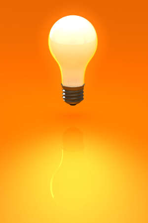 Reflecteing light bulb over an orange background. This is a 3D rendered picture.