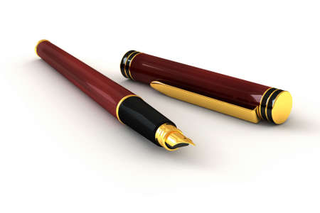Close up of a red fountain pen isolated over a white background. This is a 3D rendered picture.